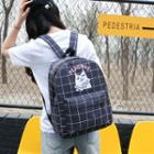 Cat Print Check Backpack
