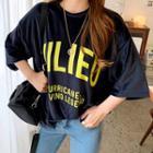 Letter-printed Velvet T-shirt