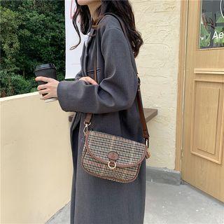 Plaid Flap Crossbody Bag Brown - One Size
