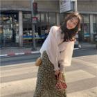 Plain Long-sleeve Shirt / Floral Printed Skirt
