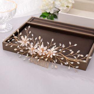 Bridal Rhinestone Flower Hair Comb Clip Gold - One Size
