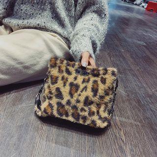 Furry Leopard Print Crossbody Bag