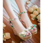 Floral Print Bow Wedge Sandals