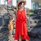 Sleeveless Frilled Chiffon Midi Dress