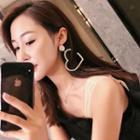 Rhinestone Heart Dangle Earring 925silver Earring - One Size
