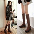Buckled Block Heel Tall Boots