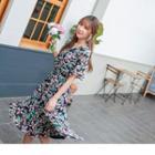 Bell Sleeve V-neck Floral Print Dress
