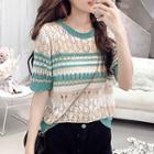 Striped Short-sleeve Pointelle Knit Top As Shown In Figure - One Size