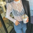 High-neck Puff-shoulder Sheer Lace Top