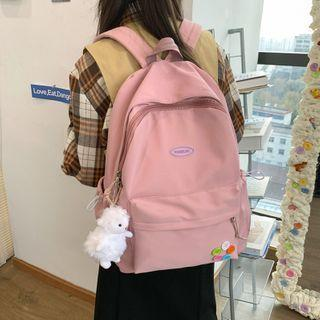 Button Accent Zip Backpack
