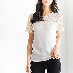 Lace-panel Short-sleeve Top
