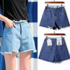 Fray-trim Asymmetric Denim Shorts