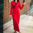 Long-sleeve Lace Trim Midi Sheath Dress