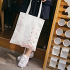 Lace Up Canvas Shopper Bag