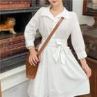 Long-sleeve Shirtdress White - One Size