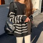 Stripe Cable-knit Top
