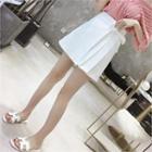 Beribboned Pleated Linen Blend Miniskirt