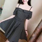 Off-shoulder Striped A-line Dress