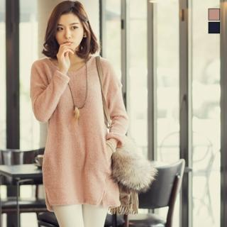 Drop-shoulder Knit Sweater