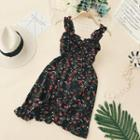 Lace-up Floral Sleeveless Dress