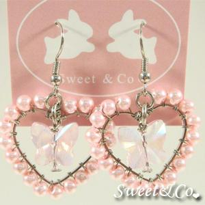 Sweet Lover Pink Heart Butterfly Earrings