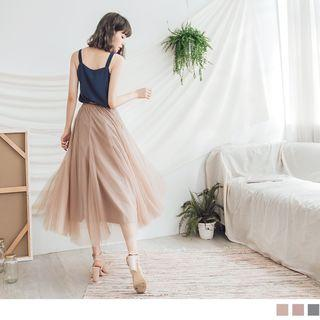 Elasticized Waist Mesh Maxi Skirt