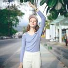 Cutout Shoulder V-neck Knit Top