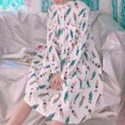 Cartoon Print Stand Collar Long Sleeve Dress
