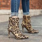 Faux-suede Leopard Printed Ankle Boots