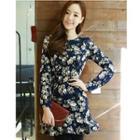 Floral Print Ruffle Hem Long Sleeve Dress