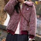 Collared Melange Zip Jacket