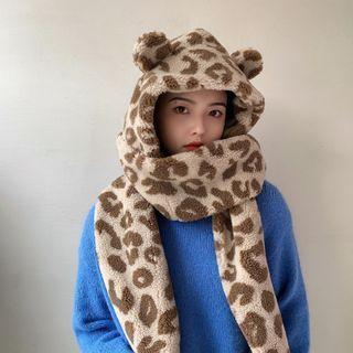 Leopard Print Hooded Fleece Scarf