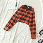 Striped Long-sleeve Cropped Polo-shirt Stripe - Gray & Orange - One Size