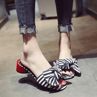 Block-heel Striped Slippers