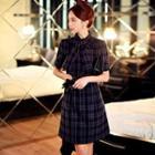 Short-sleeve Tie-neck Plaid A-line Dress