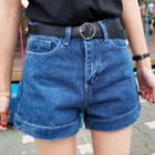 Washed Denim Shorts With Belt