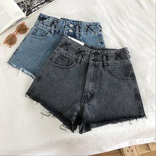 Frayed Lace-up High-waist A-line Denim Shorts