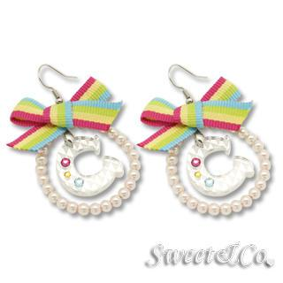 Rainbow Pearly Hoop Swarovski C Earrings Silver - One Size