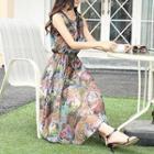 Sleeveless Embellished-neckline Printed Dress