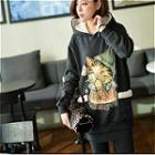 Hooded Cat Print Pullover