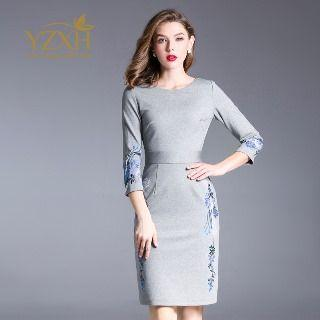 Round Neck Embroidery Sheath Dress