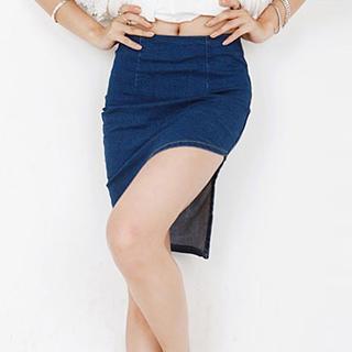 Asymmetric-hem Denim Skirt