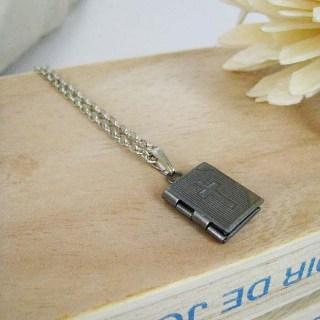 Silver Little Bible Necklace Silver - One Size