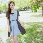 Mock Three-piece Short-sleeve Chiffon Dress