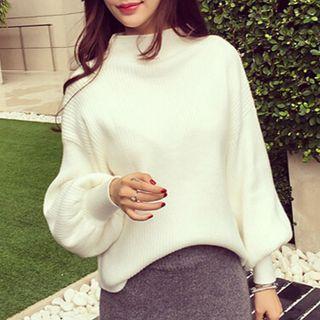 Lantern-sleeve Mock-neck Sweater