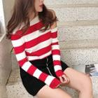 Striped Cropped Knit Top