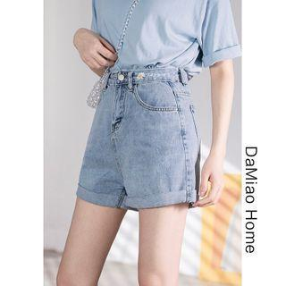 Daisy-embroidered Rolled Denim Shorts