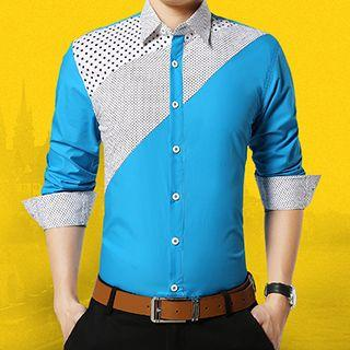 Long-sleeve Dotted Panel Shirt
