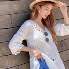 V-neck Crochet-panel Blouse