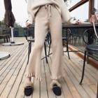 Ruffle Trim Wide Leg Knit Pants